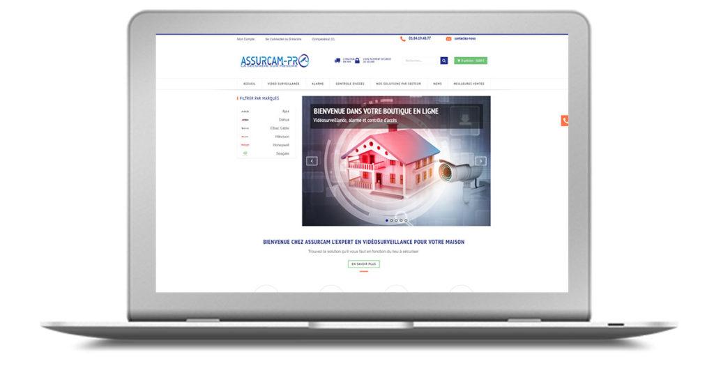 Refonte de la boutique en ligne d'Assurcam Pro sur Prestashop. Cette société est spécialisée dans la vente en ligne de matériels de vidéosurveillance et d'alarmes. Offre digitale TPE