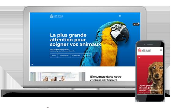 Site pour clinique vétérinaire avec boutique en ligne