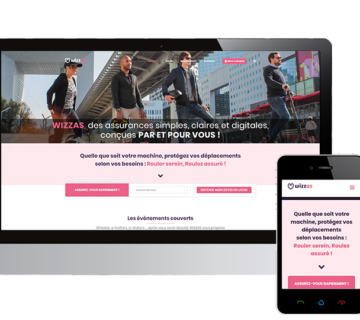 Com''etic a réalisé la refonte du site de Wizzas sur WooCommerce qui permet l'assurance en ligne sans couture pour les engin de déplacement personnel motorisés comme les trottinettes électriques, Gyroroues