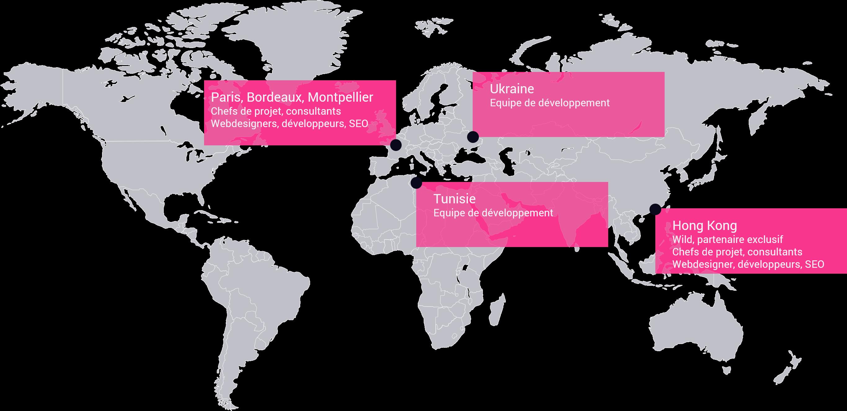 Grâce à son réeau de partenaires à Paris, Bordeaux, Montpellier, en Ukraine, Hong-Kong et au Luxembourg, l'agence Com'etic bénéficie d'équipes expertes en digital dans le monde