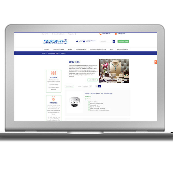 Com'etic réalise la boutique en ligne d'Assurcam Pro spécialiste de la vente de matériel de vidéosurveillance et d'alarme